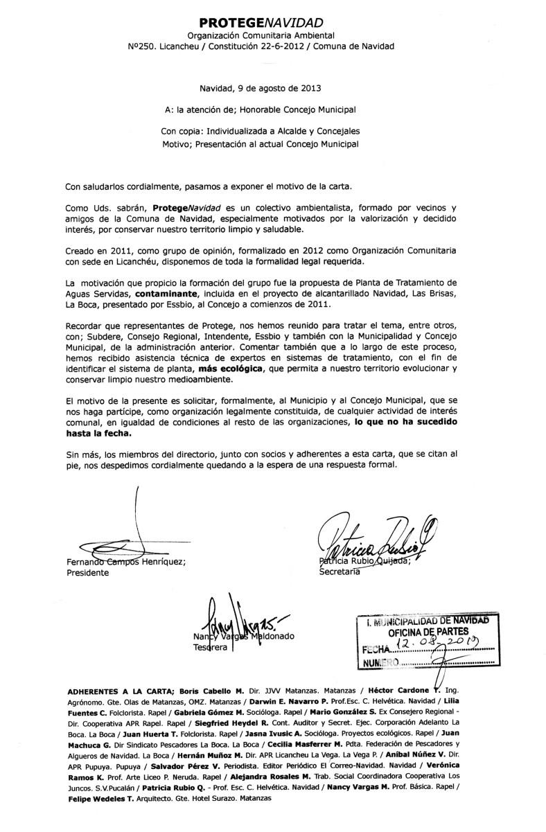 CARTA ABIERTA A ALCALDE Y CONCEJALES Sobre aislamiento al que somete la Municipalidad a Protege