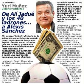 LA COLUMNA EDITORIAL ALEXIS SANCHEZ YURI 150  CUADRO